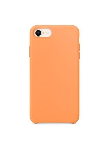 Microsonic Apple iPhone 7 Kılıf Liquid Lansman Silikon Papaya Renkli